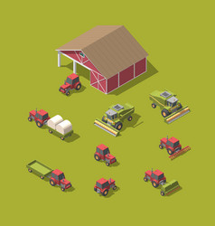 Set of agricultural machinery and workshop vector