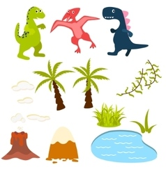 Set of cartoon dinosaur clipart vector image