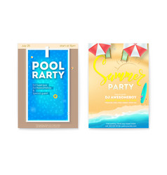 set posters for summer parties invitation vector image