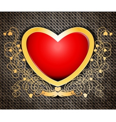 Shape heart on metallic rusty abstract background vector image
