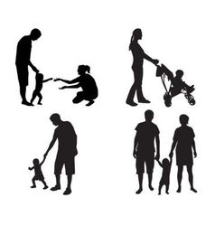 silhouettes of families with children vector image vector image