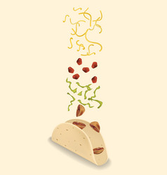 Stages of preparation mexican taco vector