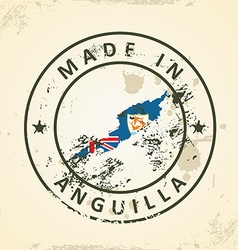 Stamp with map flag of Anguilla vector