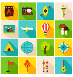 summer camp colorful icons vector image