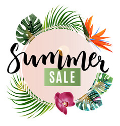 Summer sale store design poster realistic palm vector