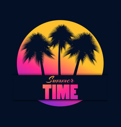 summer time palm trees on background the vector image