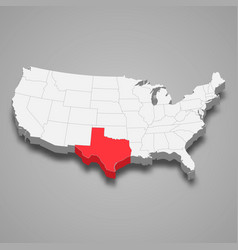 Texas state location within united states 3d map vector
