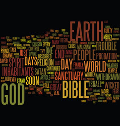 The end of days text background word cloud concept vector