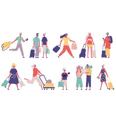 travelling summer vacation tourist male and female vector image
