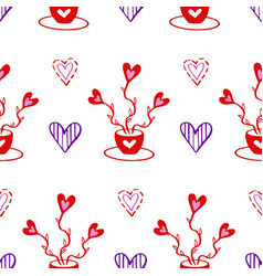 valentines hand drawn seamless pattern-05 vector image
