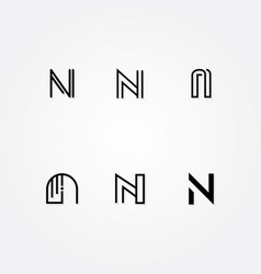 various letter n big logo typo pack vector image