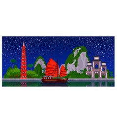 vietnam skyline with colorful buildings and night vector image