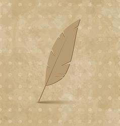 Vintage feather on grunge background vector image