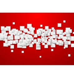 White and red abstract tech background vector