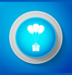 white gift box with balloons icon isolated vector image