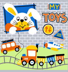 White rabbit with his toys kids t shirt design vector