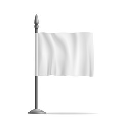 White waving flag streamer template isolated vector