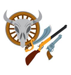 wild west guns slasher revolver shotgun wild west vector image
