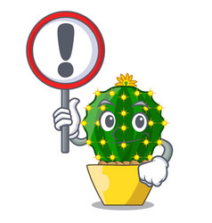 with sign mammillaria cactus planted in a cartoon vector image