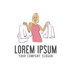 woman shopping bag logo design concept template vector image