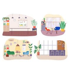 Workplace in office interior design workspace vector