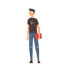 young handsome man in casual clothes standing vector image