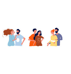 young happy couples man woman hugging together vector image