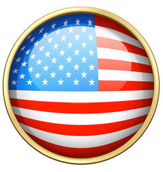 america flag design on round badge vector image vector image