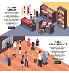 fashion studio and body measurements banners vector image vector image