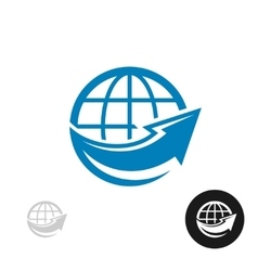 Globe with arrow logo vector image