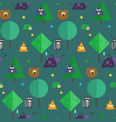 night kids pattern with cute geometrical animals vector image