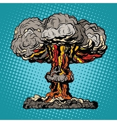 Nuclear explosion radioactive mushroom pop art vector image vector image