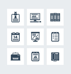 office icons set over white vector image vector image
