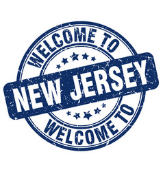 Welcome to new jersey blue round vintage stamp vector