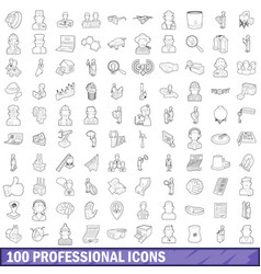 100 professional icons set outline style vector image