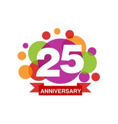 25th anniversary colored logo design happy vector image vector image