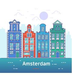 amsterdam line art european old town vector image