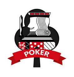 king of club card poker ribbon symbol vector image