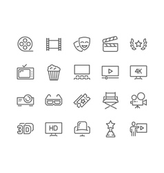 Line Cinema Icons vector image