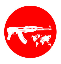 Machine on a red background terrorists and a ban vector
