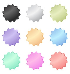 multicolored glossy stickers in the shape of a vector image