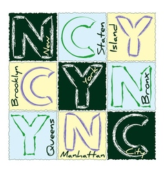 NYC print design district 3 vector image vector image