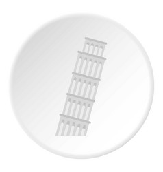 pisa tower icon circle vector image