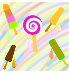 Set of colorful popsicle on a rainbow background vector image