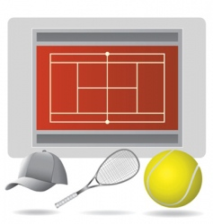 tennis field and accessories vector image vector image