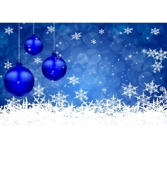 Three blue shiny ball on a beautiful Christmas vector image