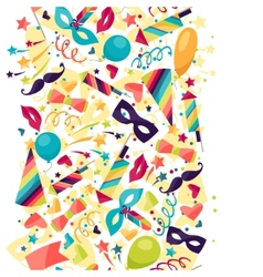 Celebration seamless pattern with carnival icons vector image
