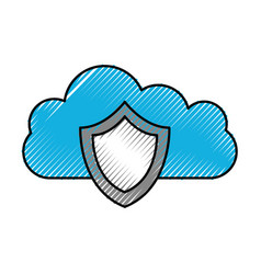 cloud shield protection secure system technology vector image