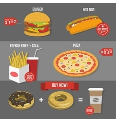 Fast food price set poster label vector image
