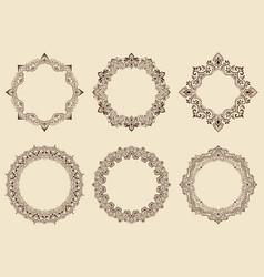 fine floral round frame decorative element for vector image vector image
